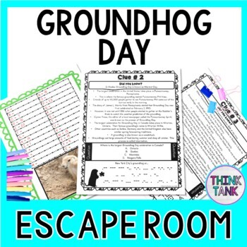 Groundhog Day ESCAPE ROOM - Fun Facts - February - Print & go!