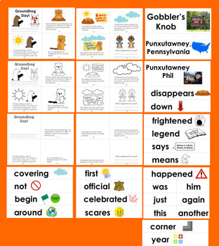 Groundhog Day Activities: Mini Books  3 Reading Levels + Illustrated Word Wall
