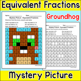 Groundhog Day Equivalent Fractions Mystery Picture