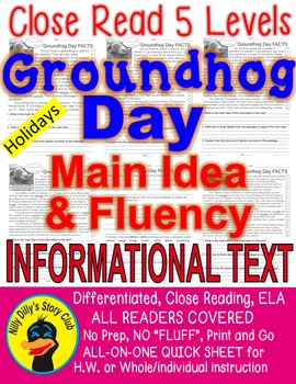 Groundhog Day FACTS Differentiated 5 Level Passages ALL-READERS-COVERED