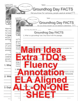 Groundhog Day CLOSE READING 5 LEVELED PASSAGES Main Idea Fluency Check TDQs