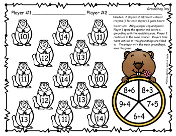 Groundhog Day FREEBIE: Addition Game for Partners