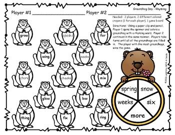 Groundhog Day FREEBIE Rhyming Game