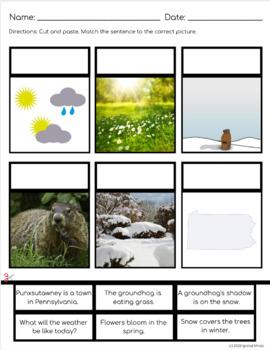 Groundhog Day FREEBIE: Differentiated Literacy Center, NO PREP Word Work