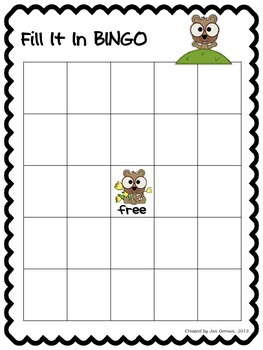 Groundhog Day Fill It In Bingo 3-Digit Addition and Subtraction