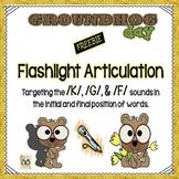 FREEBIE: Groundhog Day Flashlight Articulation /K/, /G/, & /F/ Sounds In Words