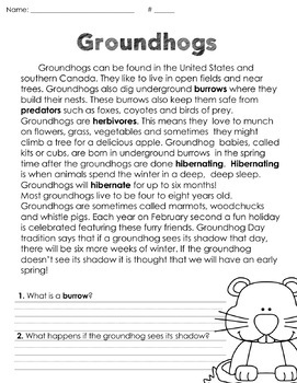 Groundhog Day Fun and Informational Text