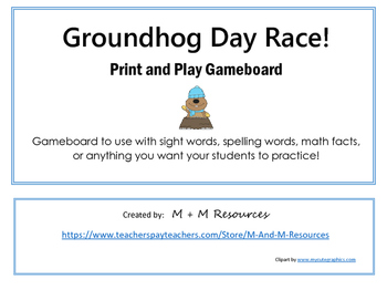 Groundhog Day Game Board - Just print and play!