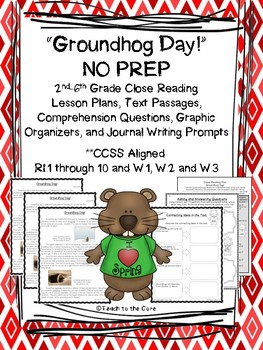 Groundhog Day Gr. 2-6 NO PREP Close Reading Text, Comprehension & Writing