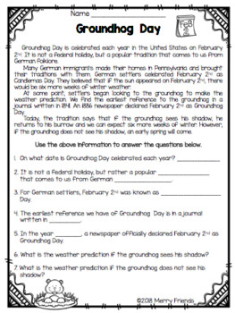 Groundhog Day Information Worksheets and Activities