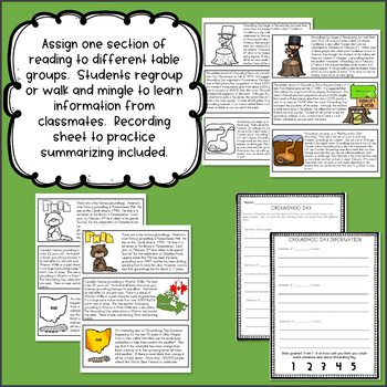 Groundhog Day Jigsaw Reading for Upper Grades
