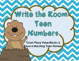 Groundhog Day Kindergarten Write the Room Center Teen Numbers Place Value Blocks