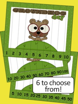 Groundhog Day Math - Counting & Skip Counting Puzzles