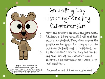 Groundhog Day Listening and Reading Comprehension