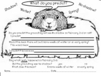 Groundhog Day Literacy, Craftivity, and Predicting PDF
