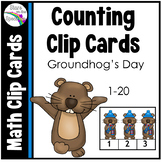 Groundhog Day Activities Counting Clip Cards 1-20