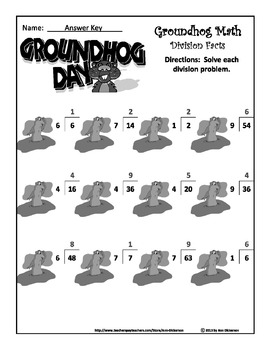 Groundhog's Day Math Activities: Ground Hog Math Drills Multiplication/Division