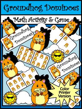 Groundhog Day Math Activities: Groundhog Day Dominoes Math Activity & Math Game