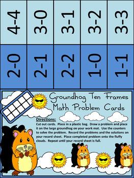 Groundhog Day Math Activities:Groundhog Day Ten Frames Winter Math Activity