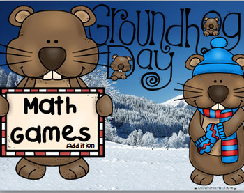 Groundhog Day Math Addition Card & Board Game Sums to 10 and 20