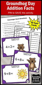 Kindergarten Addition Games, Groundhog Day Math Activities SCOOT