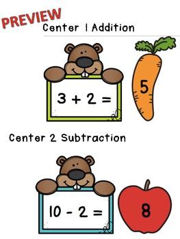 Groundhog Day Math Center for Basic Fact Fluency