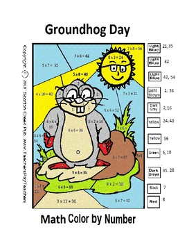 Groundhog Day Math Color by Number Multiplication