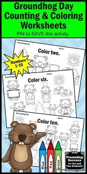 Groundhog Day Activities Kindergarten Coloring Pages Counting Worksheets