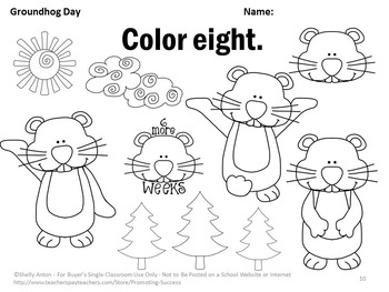 Groundhog Day Math Activities, Kindergarten Coloring Pages, Counting Worksheets