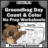 Groundhog Day Activities, Number Words Worksheets, Kindergarten Math Coloring