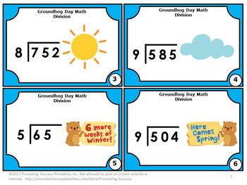 Division Task Cards Groundhog Day Math Activities, 4th Grade Math Centers