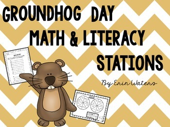 Groundhog Day Math & Literacy Stations BUNDLE