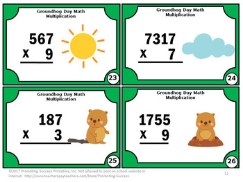 Multiplication Task Cards Groundhog Day Math Activities, 4th Grade Math Centers