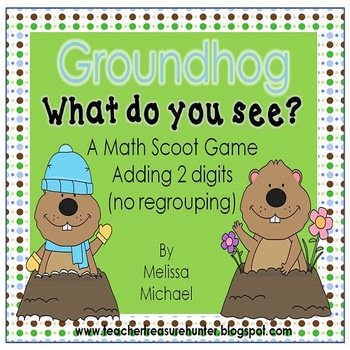 Groundhog Day Math Scoot game *double digit addition (no r