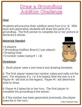 Groundhog Day Math - Basic Operations, Whole or Decimal Numbers