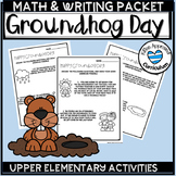 Ground Hog Day Math Worksheets and Writing Prompt Groundhog Day