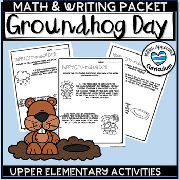 ground hog day math worksheets and writing prompt groundhog day  tpt