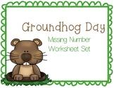 Groundhog Day Missing Number Worksheet Set