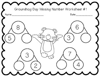 Groundhog Day Missing Number Worksheet Set