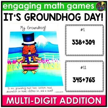 Groundhog Day Multi-Digit Addition Game