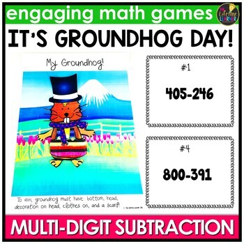 Groundhog Day Activities - Multi-Digit Subtraction Game