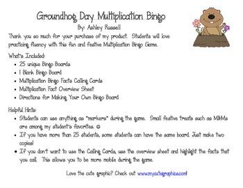 Groundhog Day Multiplication Bingo