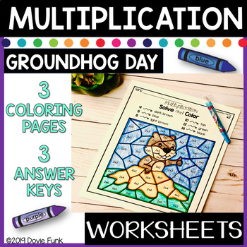 Groundhog Day Worksheets Multiplication Solve and Color