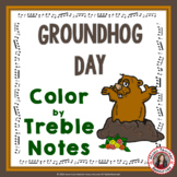Groundhog Day Music Coloring Pages: 20 Color by Treble Notes Sheets