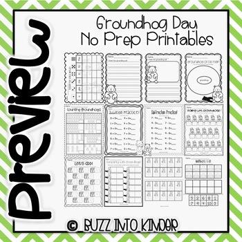 Groundhog Day - NO PREP - Literacy and Math Printables
