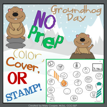 Groundhog Day No Prep: Color, Cover, or Stamp