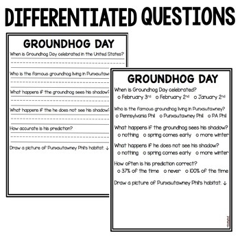 Groundhog Day Non Fiction DIFFERENTIATED Reading Passage + Comprehension