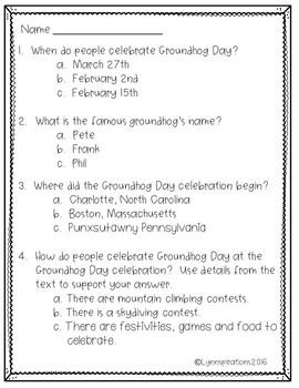 Groundhog day reading comprehension by lynnspirations tpt groundhog day reading comprehension ibookread Download