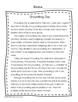 Groundhog Day Nonfiction Reading and Writing Pack