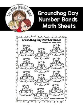 Groundhog Day Number Bond Math Sheets